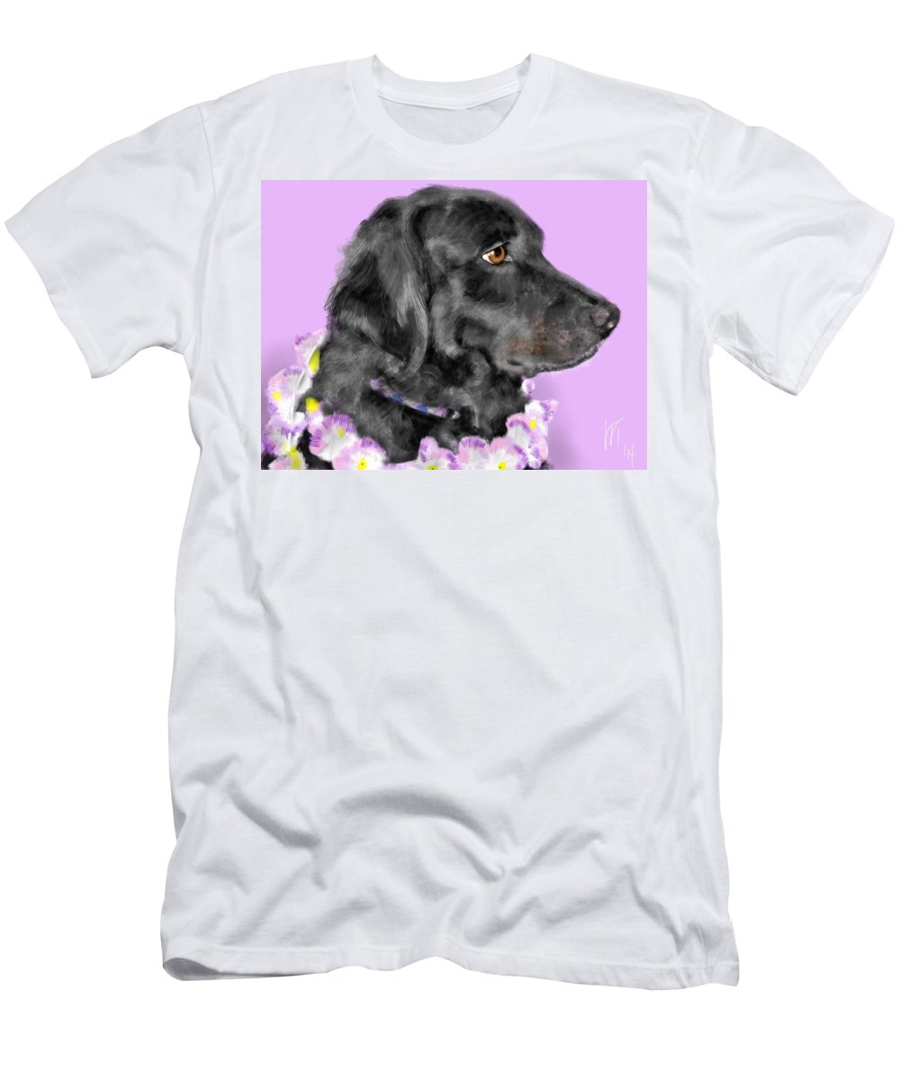 Black Dog Men's T-Shirt (Athletic Fit) featuring the painting Black Dog Pretty In Lavender by Lois Ivancin Tavaf