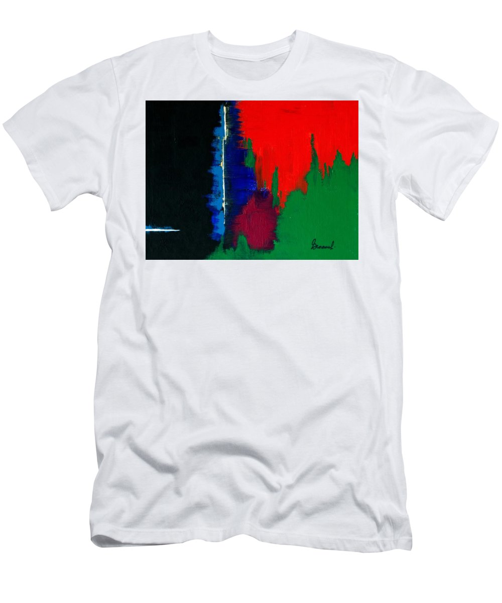 Abstract Men's T-Shirt (Athletic Fit) featuring the painting Black Forest #4 by Thomas Gronowski