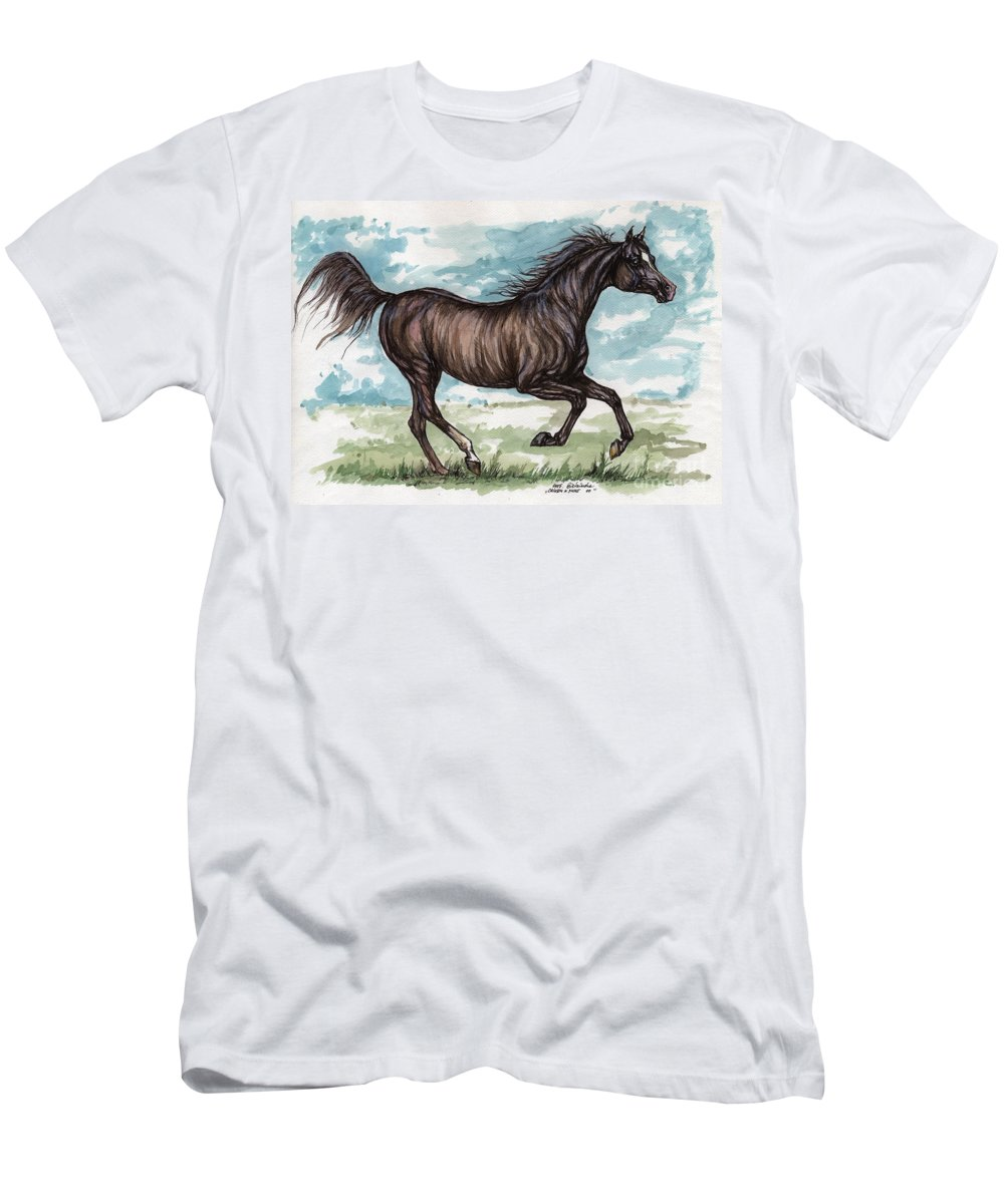 Psychodelic Men's T-Shirt (Athletic Fit) featuring the painting Black Horse Running by Angel Ciesniarska