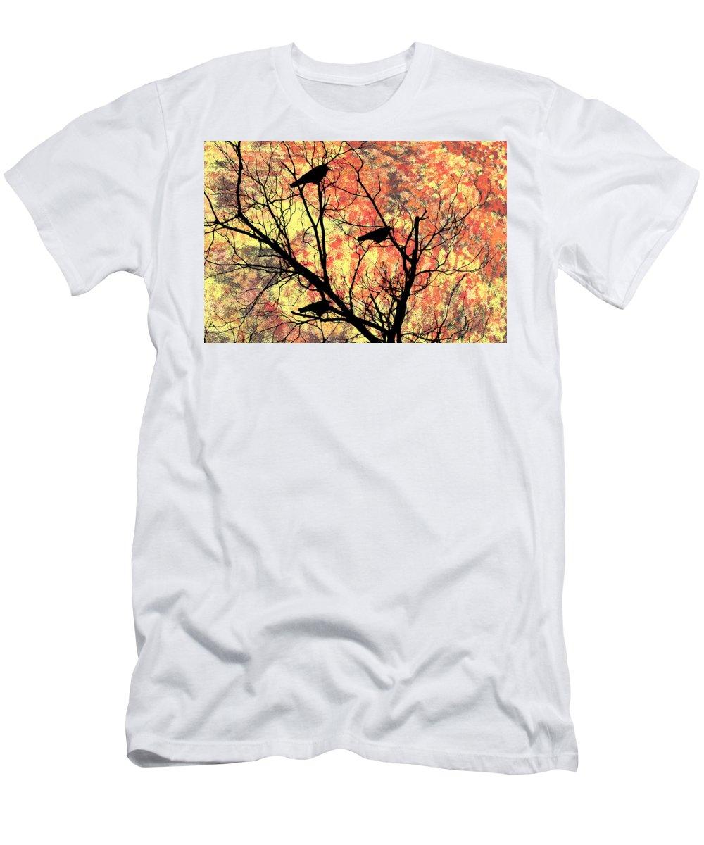Blackbirds In A Tree Men's T-Shirt (Athletic Fit) featuring the photograph Blackbirds In A Tree by Bill Cannon