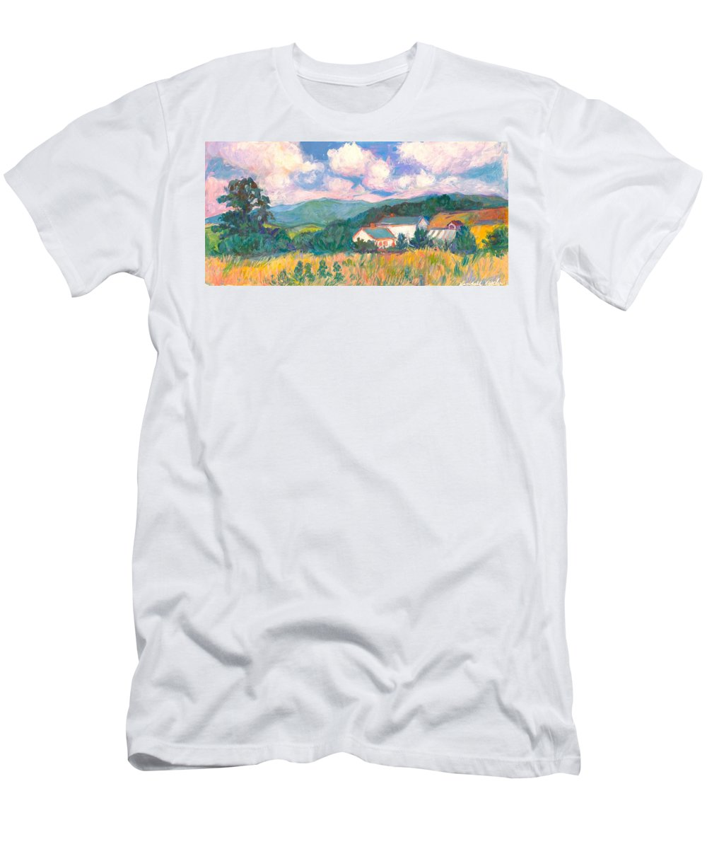 Clouds Men's T-Shirt (Athletic Fit) featuring the painting Blacksburg Clouds by Kendall Kessler