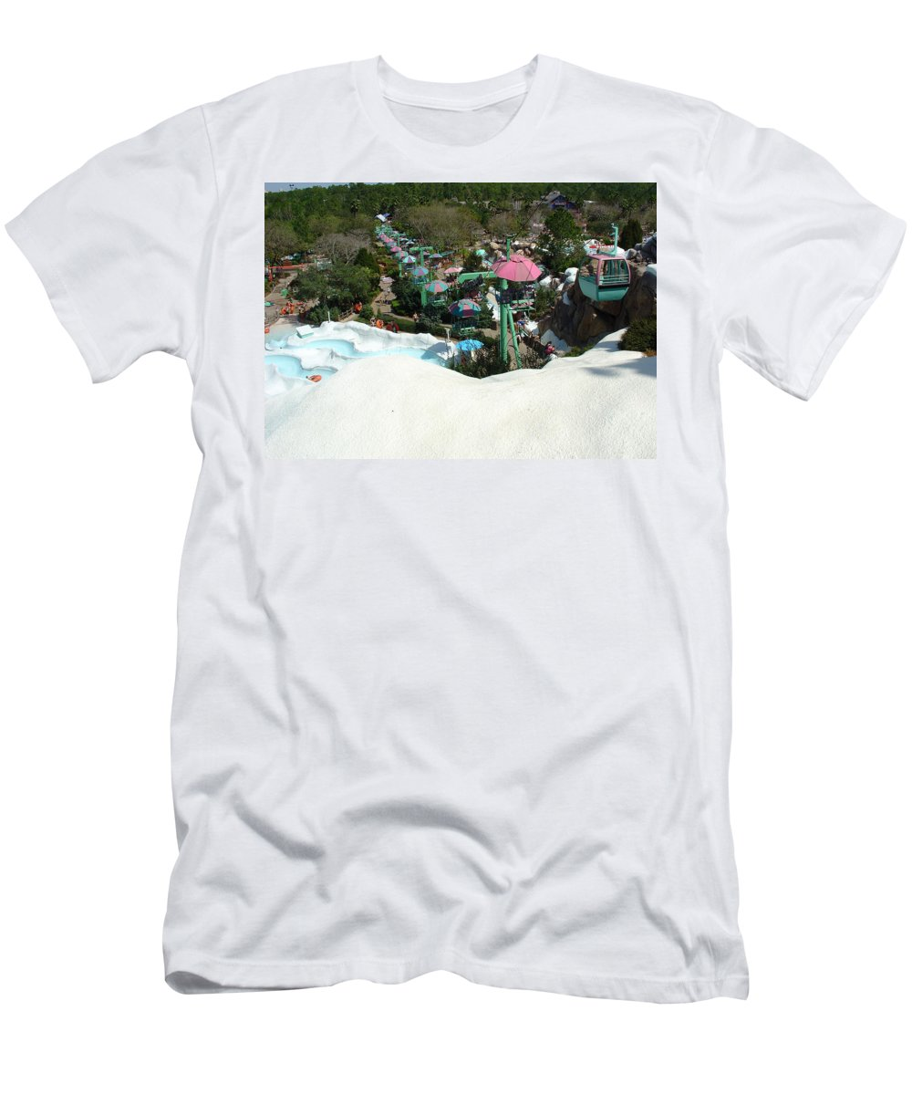 Disney World Men's T-Shirt (Athletic Fit) featuring the photograph Blizzard Ski Lifts by David Nicholls