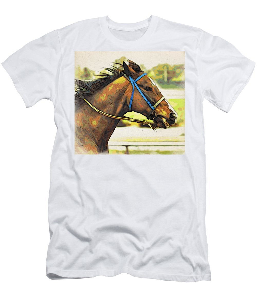 Horse Men's T-Shirt (Athletic Fit) featuring the photograph Blue Bridle by Alice Gipson