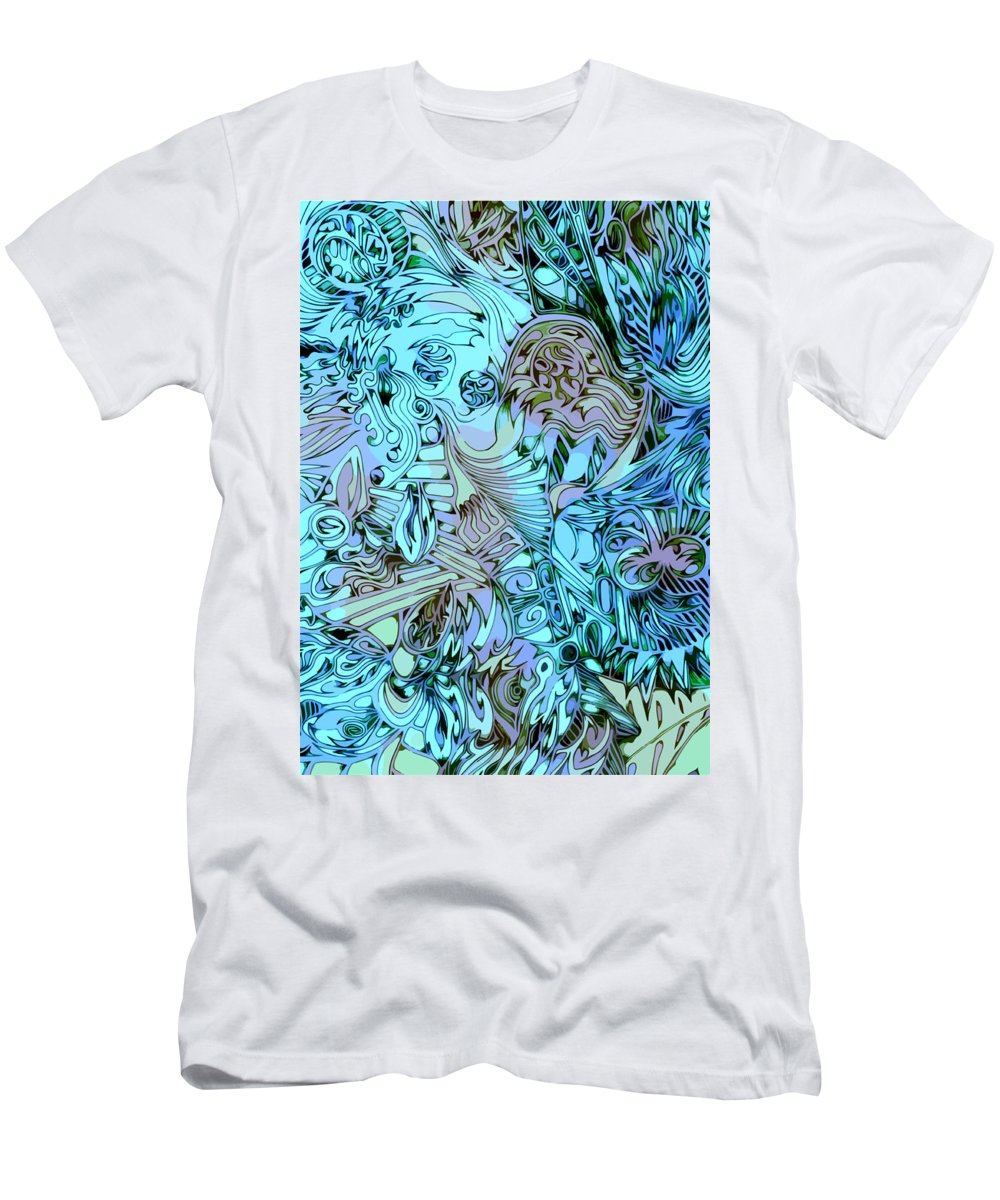 Abstract Seacorc Blue Men's T-Shirt (Athletic Fit) featuring the painting Blue Cow by Sean Corcoran