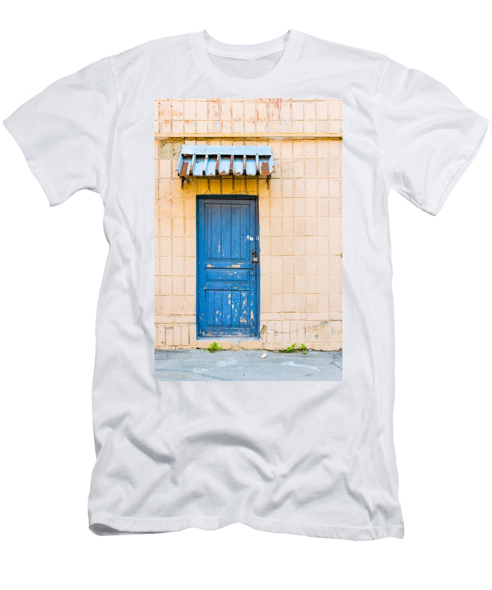 Kiev Men's T-Shirt (Athletic Fit) featuring the photograph Blue Door With A Lock by Alain De Maximy