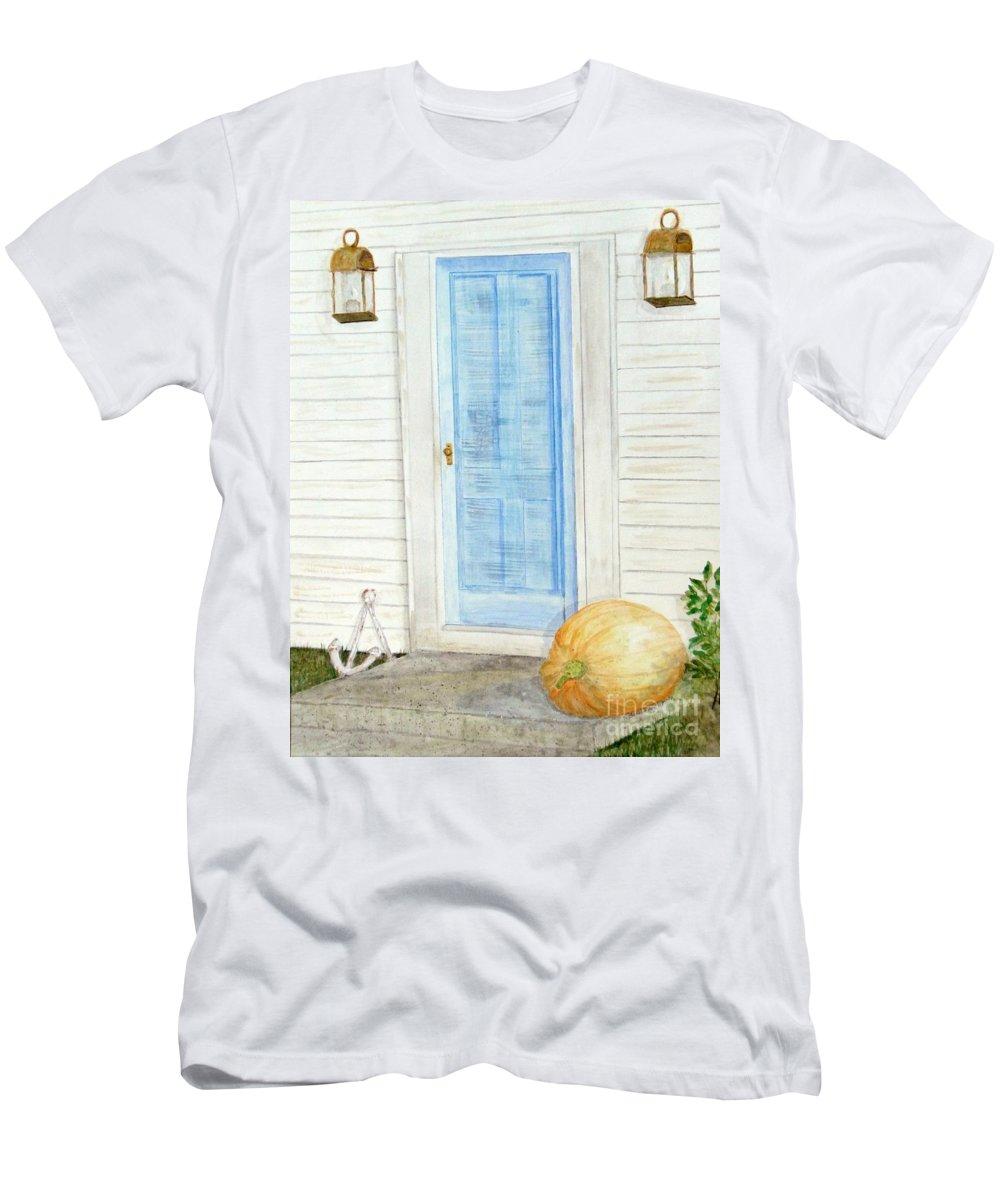 Doorway Men's T-Shirt (Athletic Fit) featuring the mixed media Blue Door With Pumpkin by Barbie Corbett-Newmin