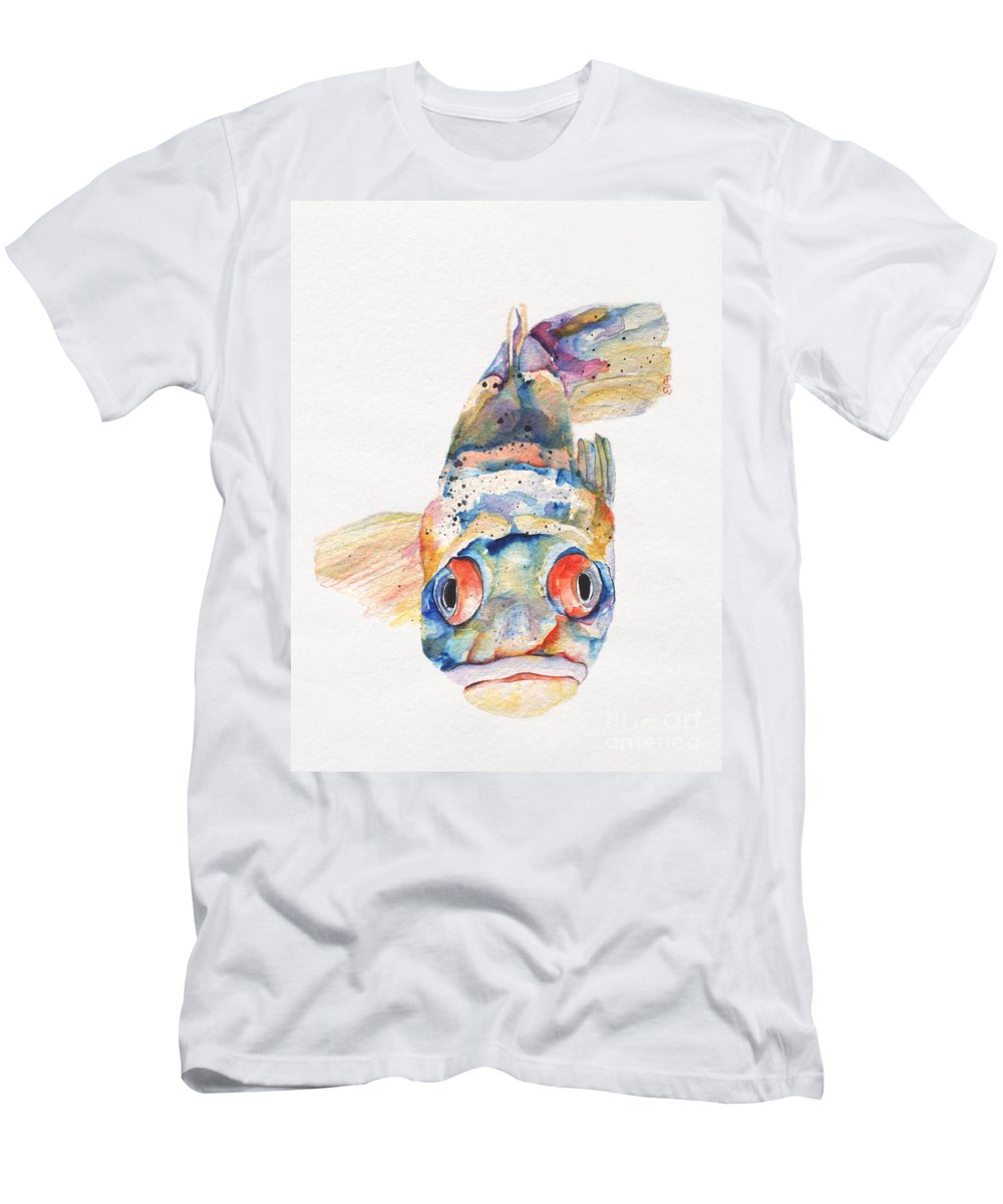 Pat Saunders-white Men's T-Shirt (Athletic Fit) featuring the painting Blue Fish  by Pat Saunders-White