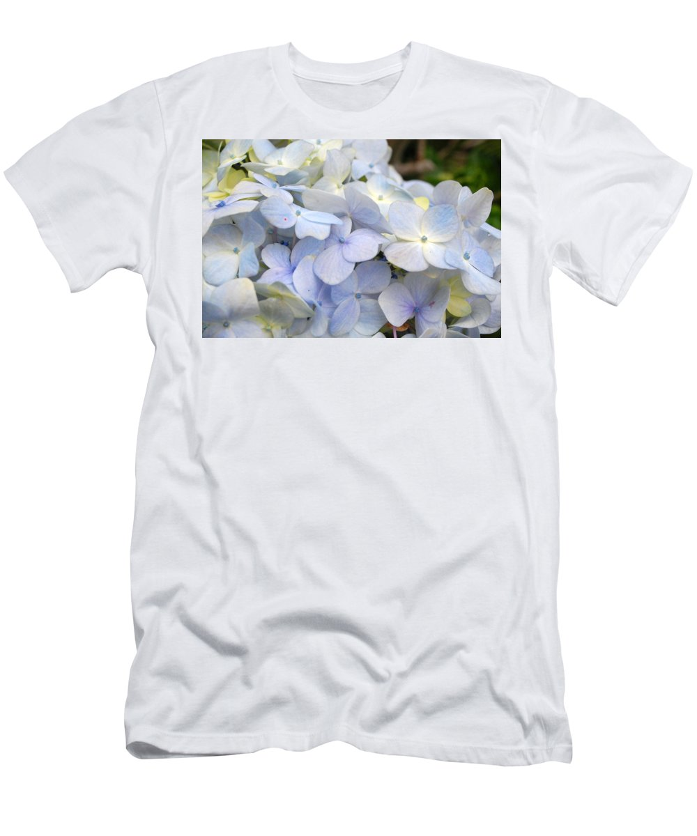 Flower Men's T-Shirt (Athletic Fit) featuring the photograph Blue Hydrangea Flowers by Amy Fose