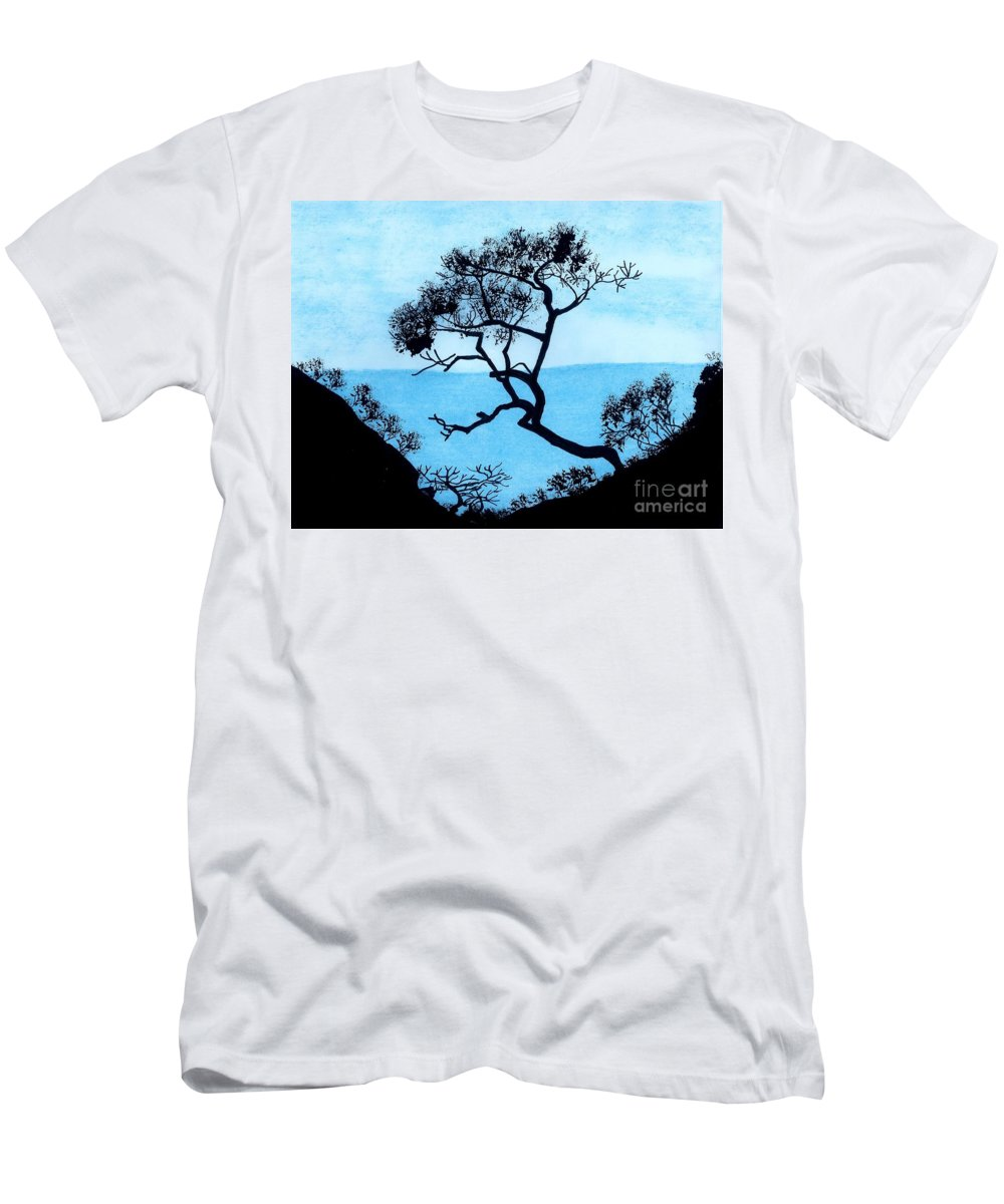 Mountains Men's T-Shirt (Athletic Fit) featuring the drawing Blue Mountain by D Hackett