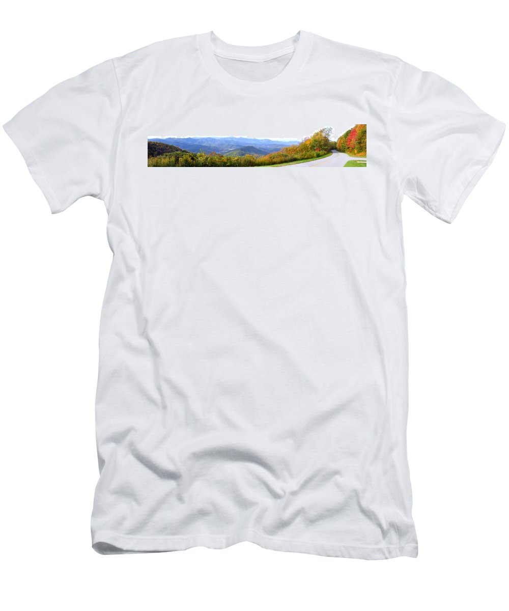 Landscapes. Printscapes Men's T-Shirt (Athletic Fit) featuring the photograph Blueridge Parkway Mm404 by Duane McCullough