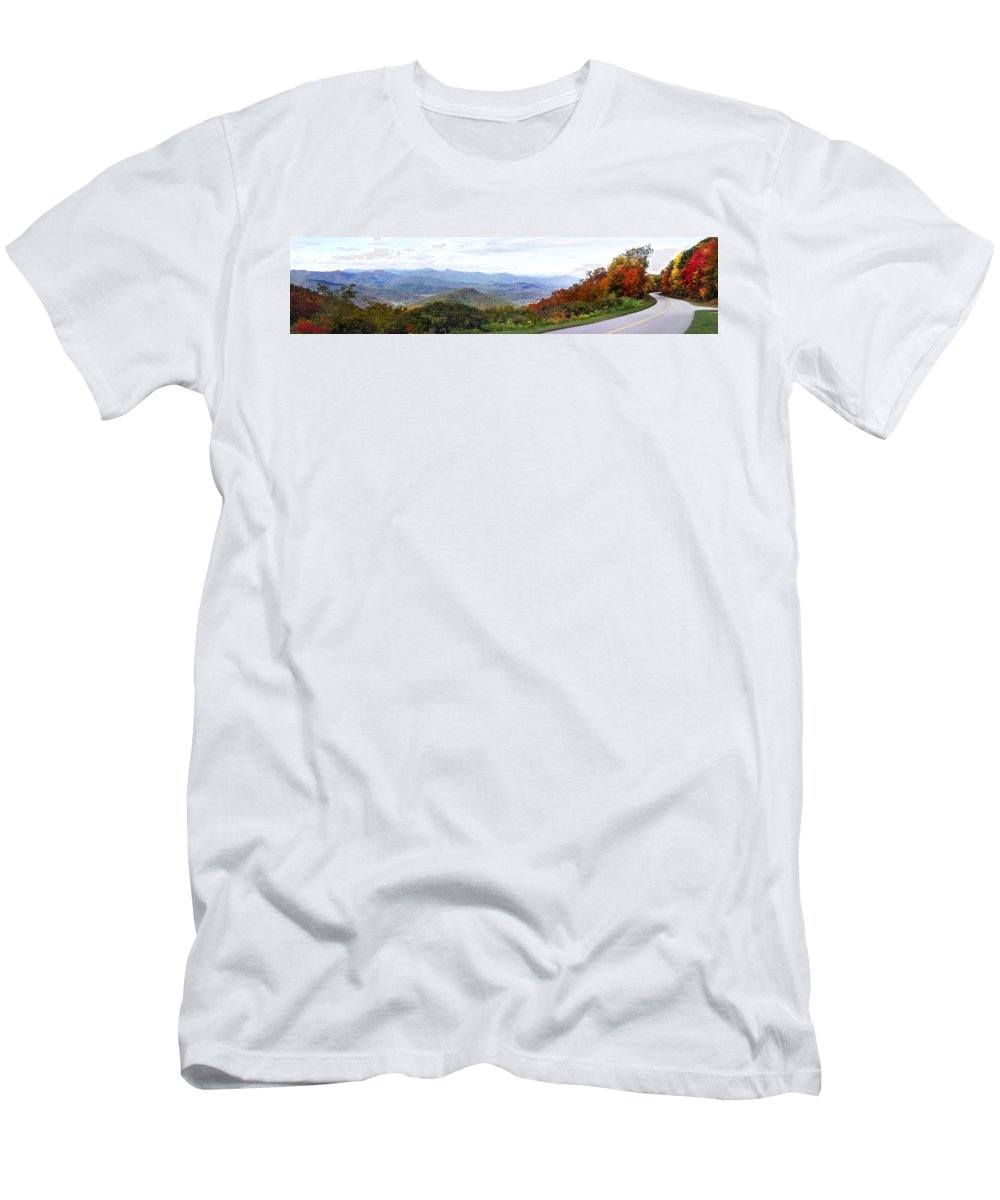 Landscapes. Printscapes Men's T-Shirt (Athletic Fit) featuring the photograph Blueridge Parkway View 2 At Mm 404 by Duane McCullough