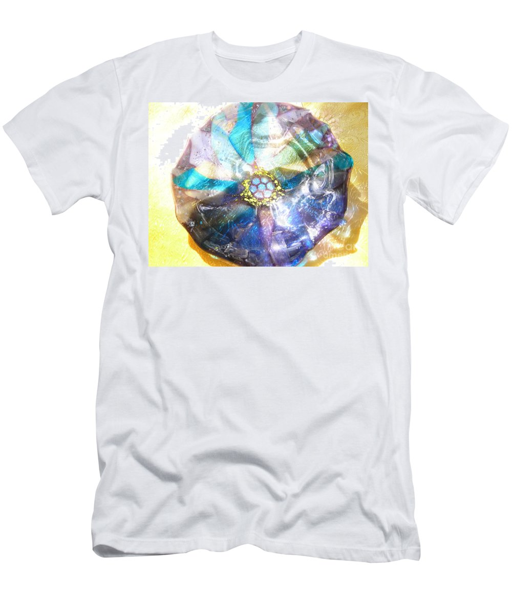 Glass Men's T-Shirt (Athletic Fit) featuring the photograph Blues Mandala Bowl by Donna Spencer