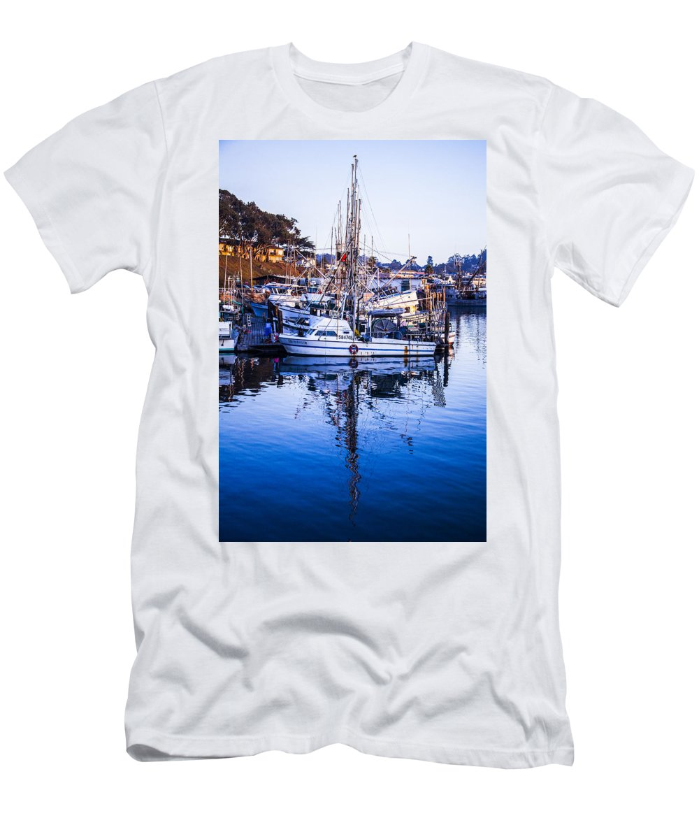 Boat Mast Reflection Men's T-Shirt (Athletic Fit) featuring the photograph Boat Mast Reflection In Blue Ocean At Dock Morro Bay Marina Fine Art Photography Print by Jerry Cowart
