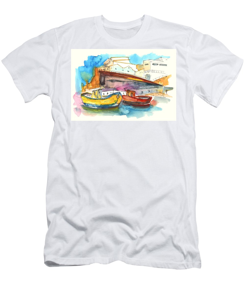 Portugal Art Men's T-Shirt (Athletic Fit) featuring the painting Boats In Ericeira In Portugal by Miki De Goodaboom