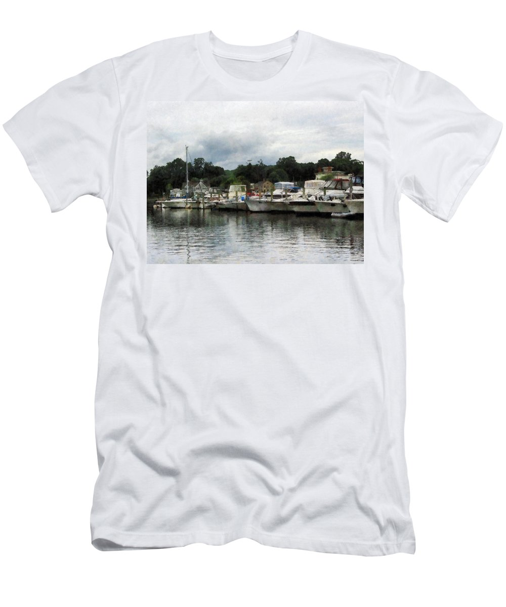 Boat Men's T-Shirt (Athletic Fit) featuring the photograph Boats On A Cloudy Day Essex Ct by Susan Savad