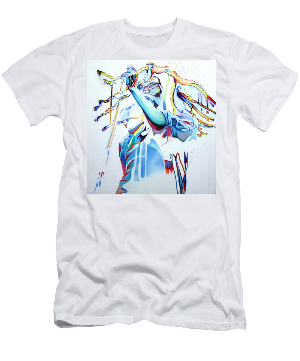 Bob Marley Men's T-Shirt (Athletic Fit) featuring the painting Bob Marley Colorful by Joshua Morton