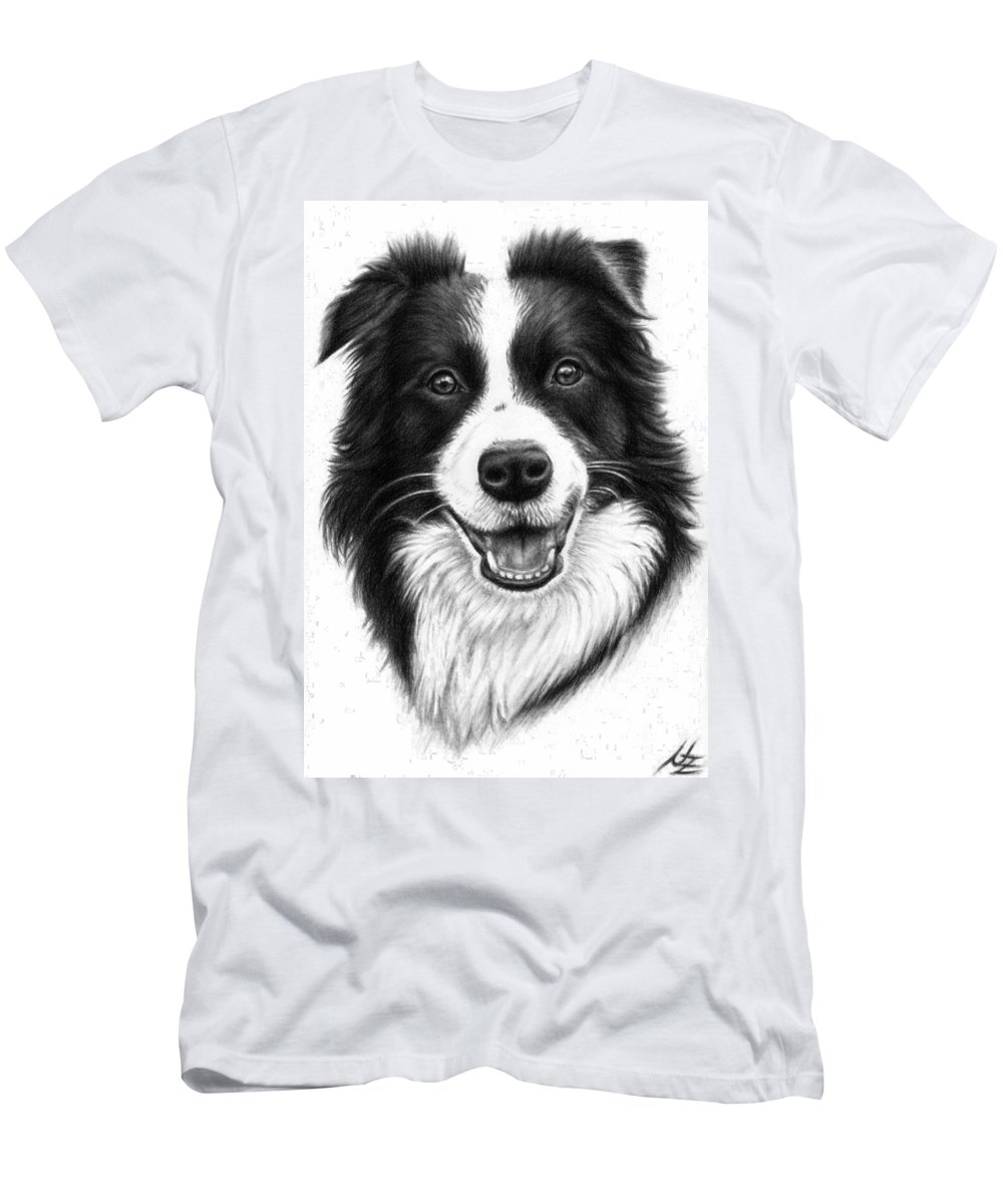 Dog Men's T-Shirt (Athletic Fit) featuring the drawing Border Collie by Nicole Zeug