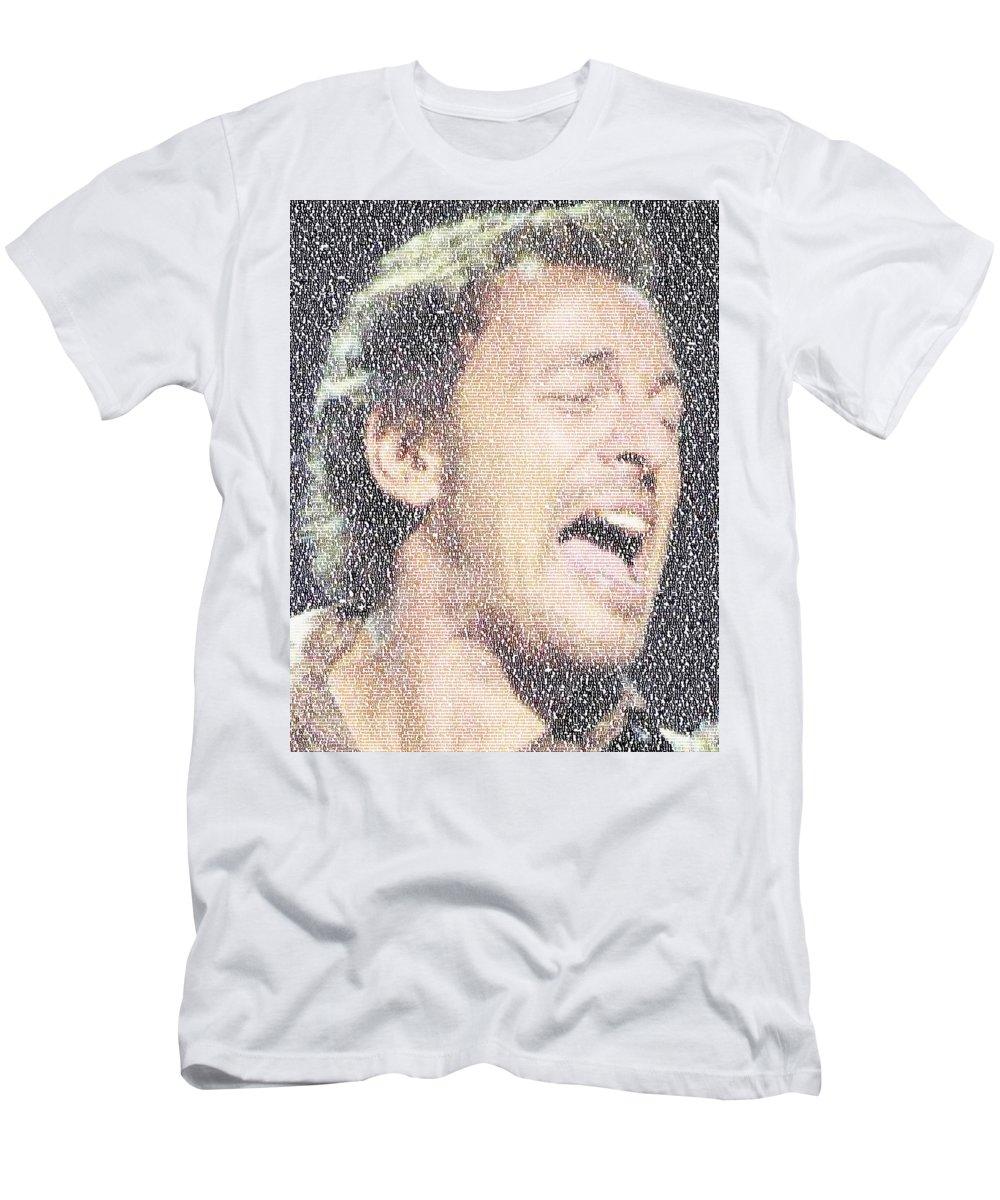 Born To Run Men's T-Shirt (Athletic Fit) featuring the photograph Born To Run Mosaic by Paul Van Scott