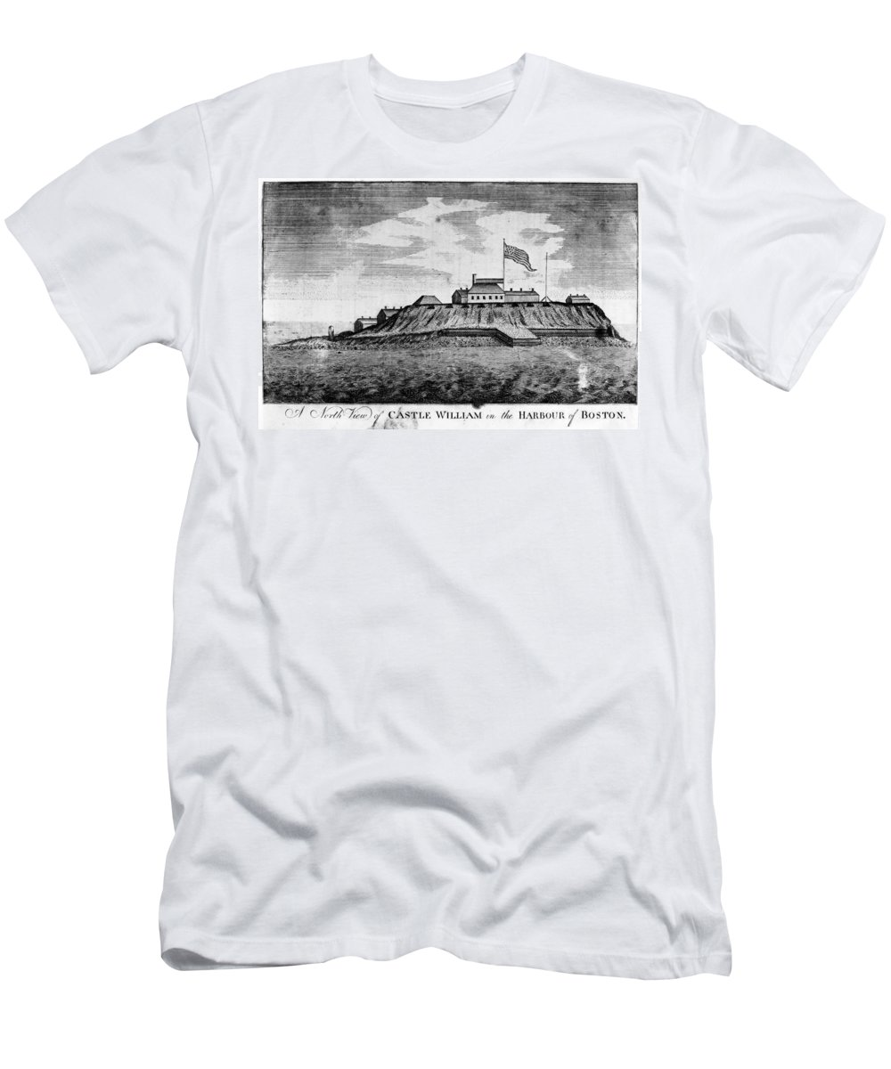 1789 Men's T-Shirt (Athletic Fit) featuring the photograph Boston: Castle William by Granger