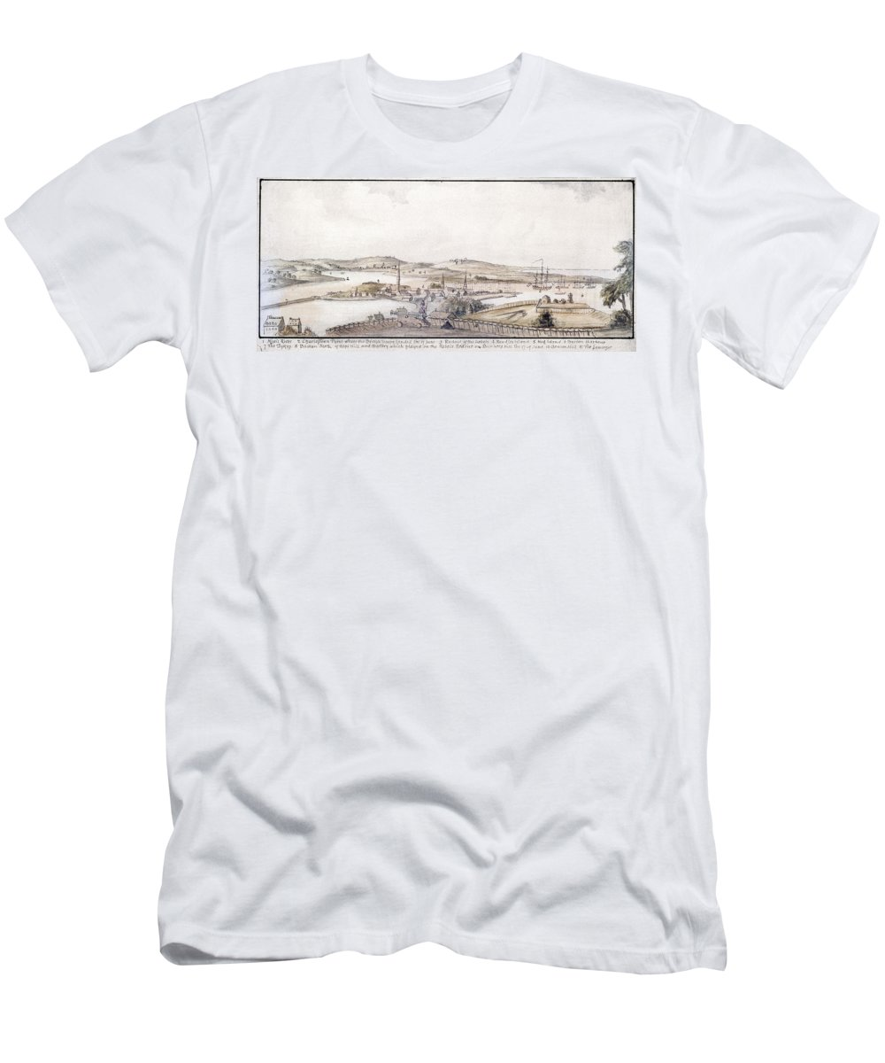 1775 Men's T-Shirt (Athletic Fit) featuring the photograph Boston Harbor, 1775 by Granger