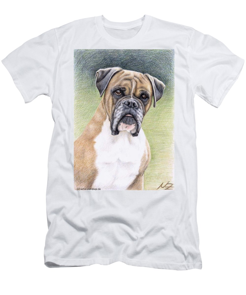 Dog Men's T-Shirt (Athletic Fit) featuring the drawing Boxer Portrait by Nicole Zeug