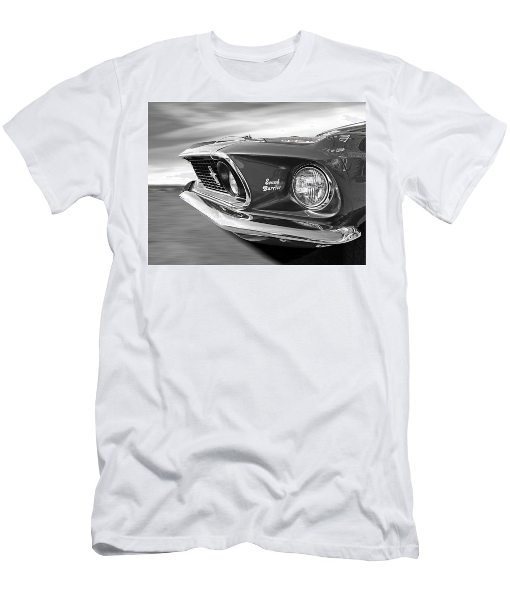 Classic Mustang Men's T-Shirt (Athletic Fit) featuring the photograph Breaking The Sound Barrier - Mach 1 428 Cobra Jet Mustang In Black And White by Gill Billington