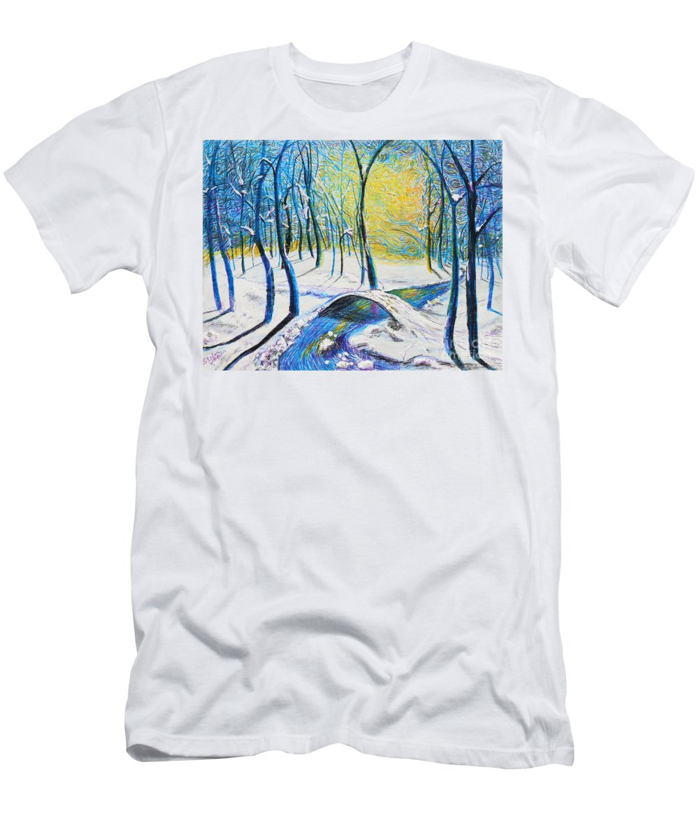 Landscape Men's T-Shirt (Athletic Fit) featuring the painting Bridge To The Other Side by Stefan Duncan
