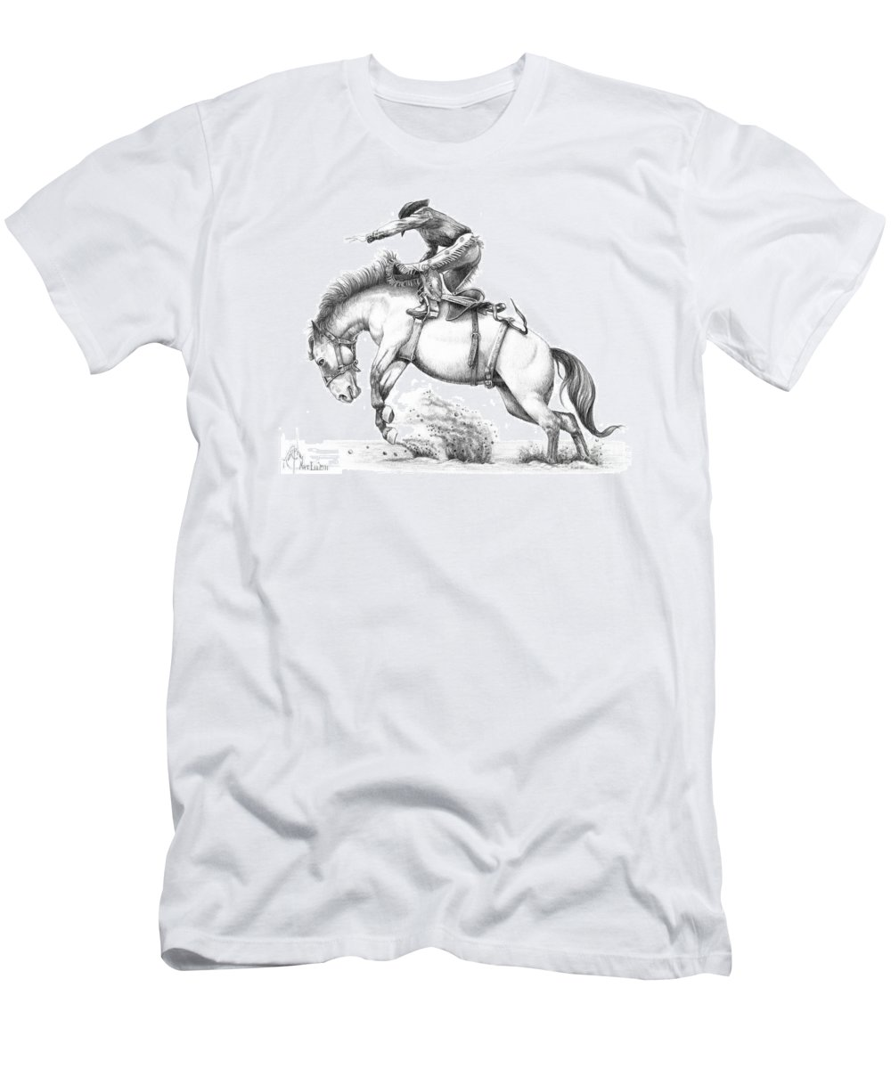 Drawing Men's T-Shirt (Athletic Fit) featuring the drawing Bronco by Murphy Elliott