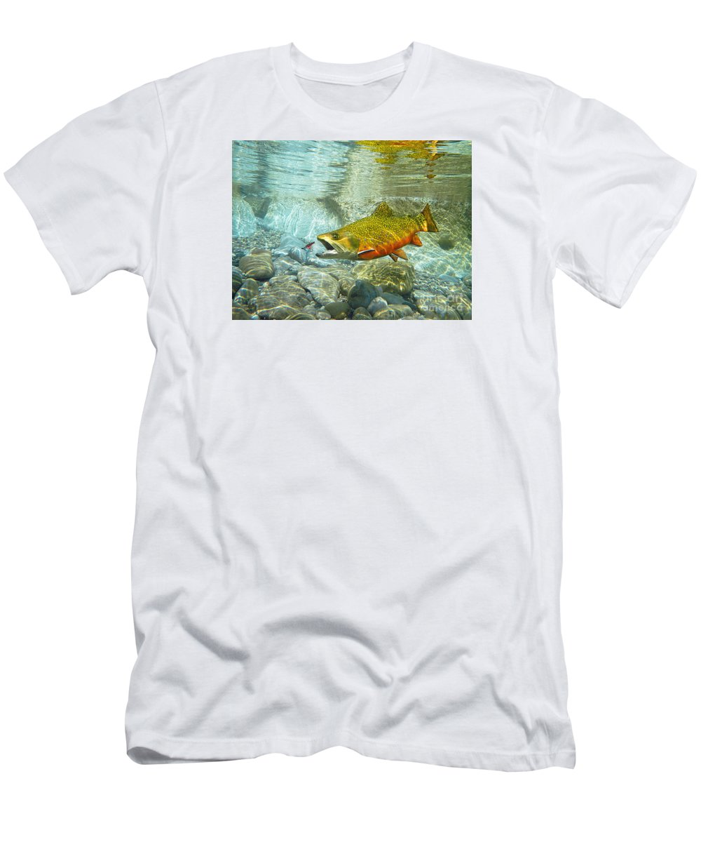Trout Paintings Men's T-Shirt (Athletic Fit) featuring the painting Brook Trout And Artificial Fly by Paul Buggia