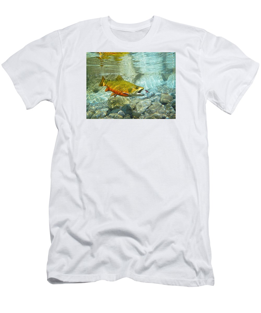 Trout Painting Men's T-Shirt (Athletic Fit) featuring the mixed media Brook Trout And Silver Doctor by Paul Buggia