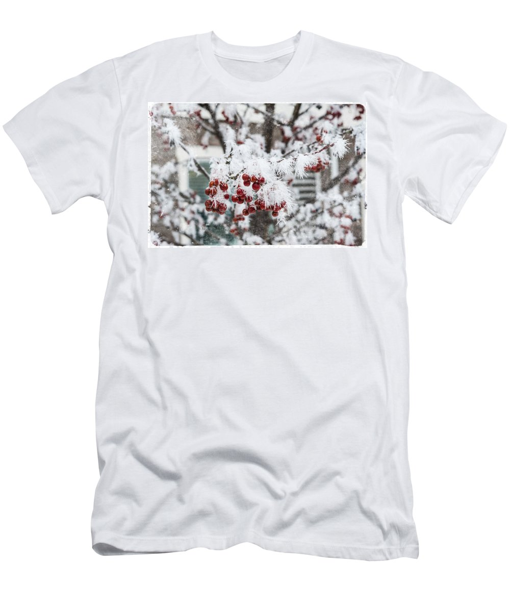 Frozen Fog Men's T-Shirt (Athletic Fit) featuring the photograph Brrrrrr by Sheri Bartoszek