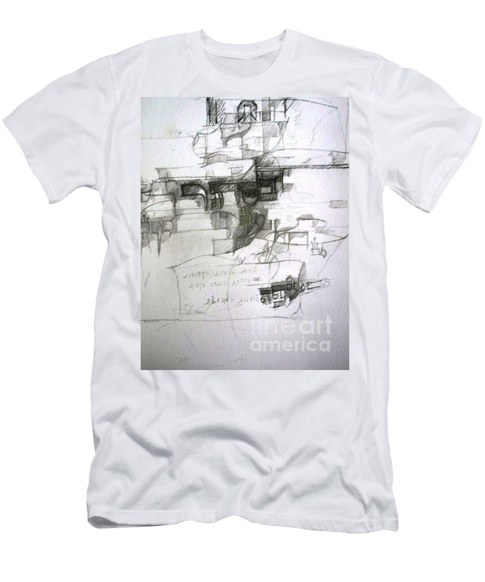 Torah Men's T-Shirt (Athletic Fit) featuring the drawing bSeter Elyion by David Baruch Wolk