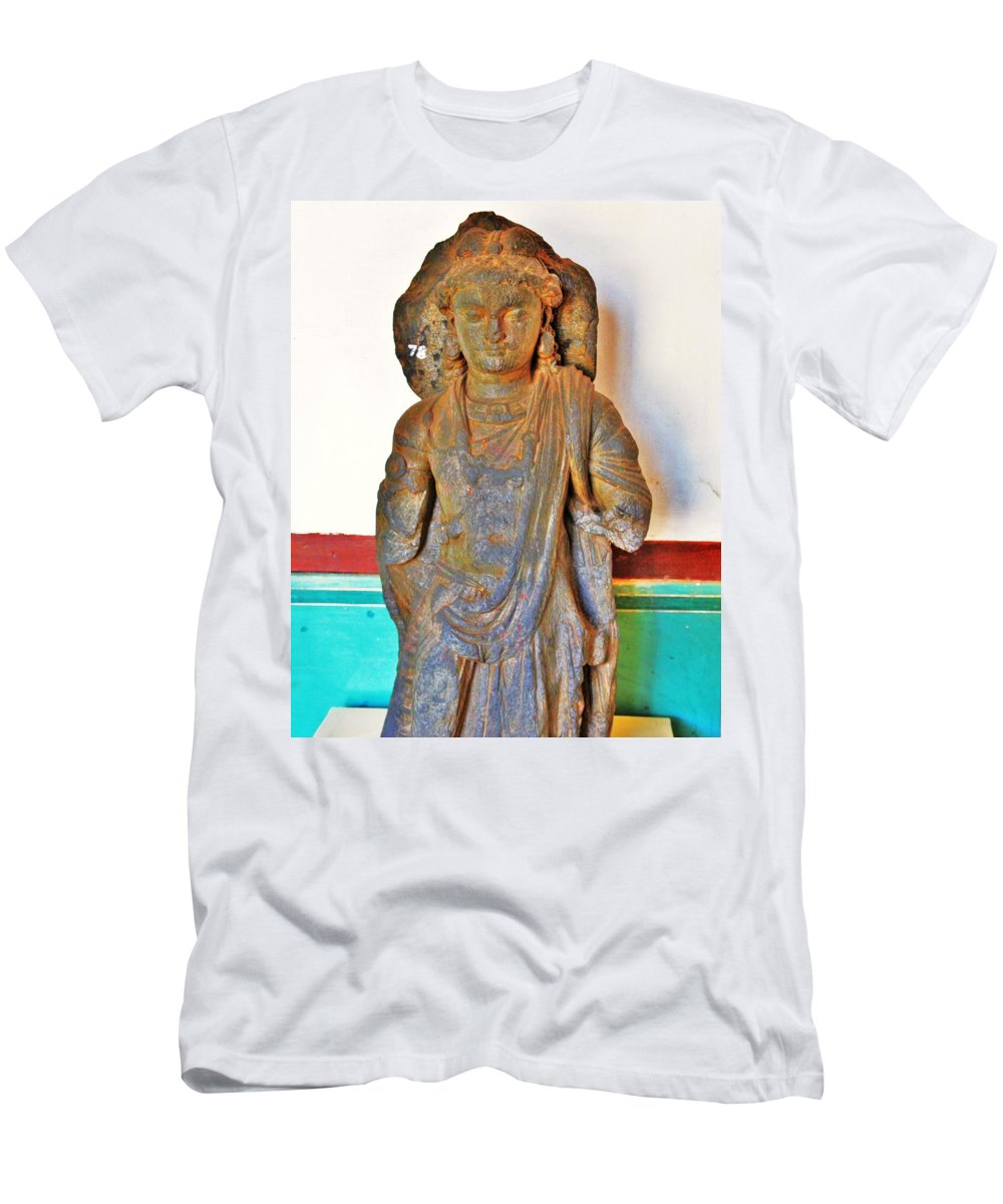 Buddha Men's T-Shirt (Athletic Fit) featuring the photograph Ancient Buddha Statue - Albert Hall - Jaipur India by Kim Bemis