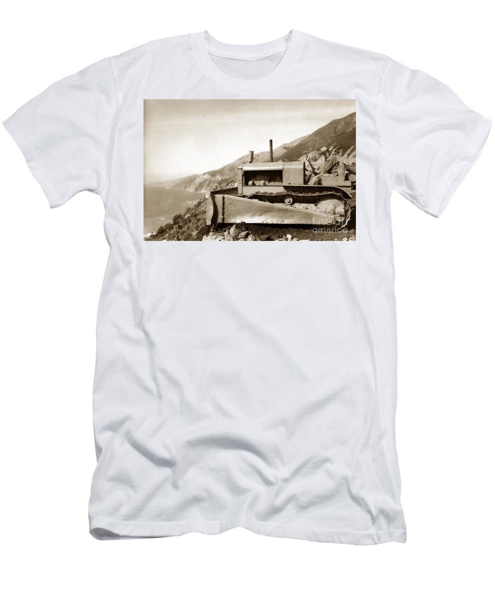 Bulldozer Men's T-Shirt (Athletic Fit) featuring the photograph Bulldozer Working On Highway One Big Sur Circa 1930 by California Views Archives Mr Pat Hathaway Archives