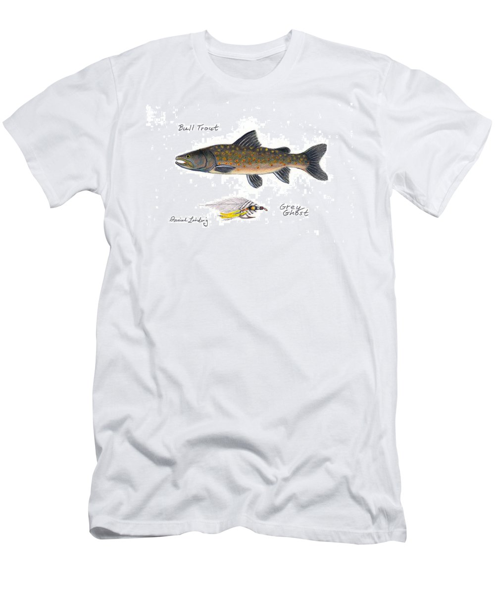Fishing Men's T-Shirt (Athletic Fit) featuring the drawing Bulltrout And Grey Ghost Fly by Daniel Lindvig