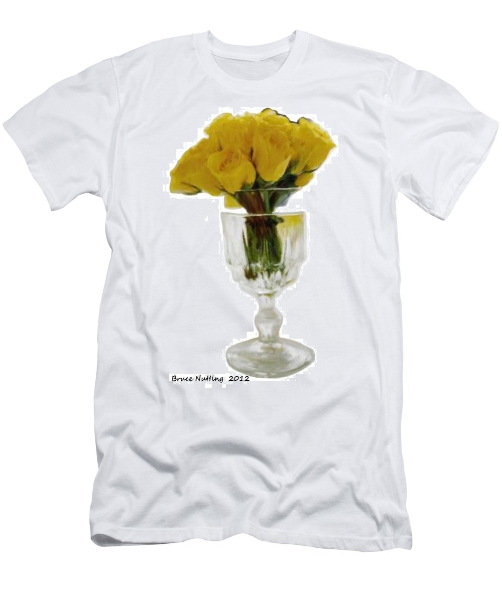 Yellow Men's T-Shirt (Athletic Fit) featuring the painting Bunch Of Yellow Roses by Bruce Nutting