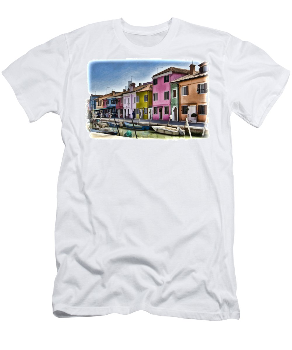 Burano Men's T-Shirt (Athletic Fit) featuring the photograph Burano Italy - Colorful Homes by Jon Berghoff