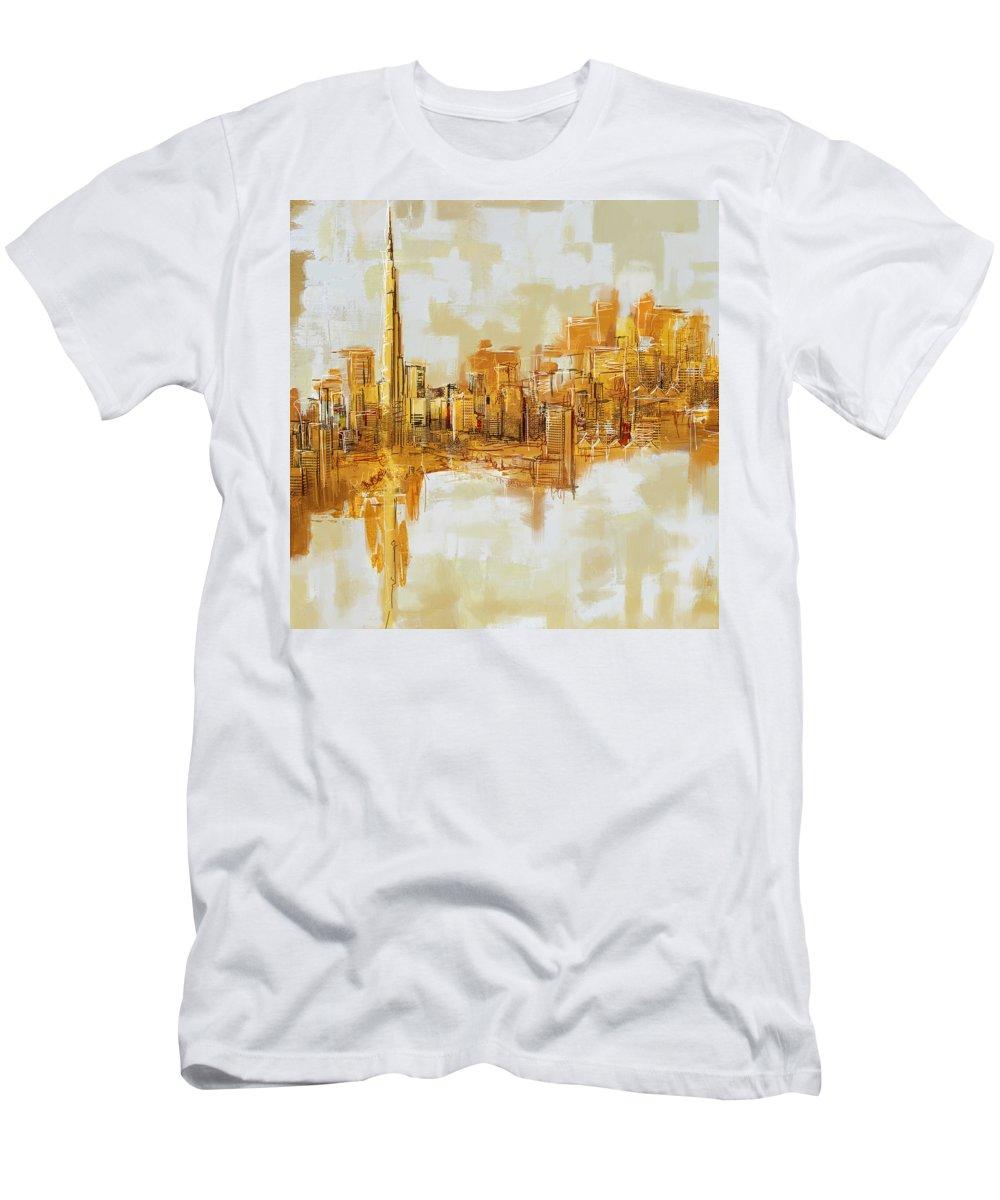 Dubai Men's T-Shirt (Athletic Fit) featuring the painting Burj Khalifa Skyline by Corporate Art Task Force