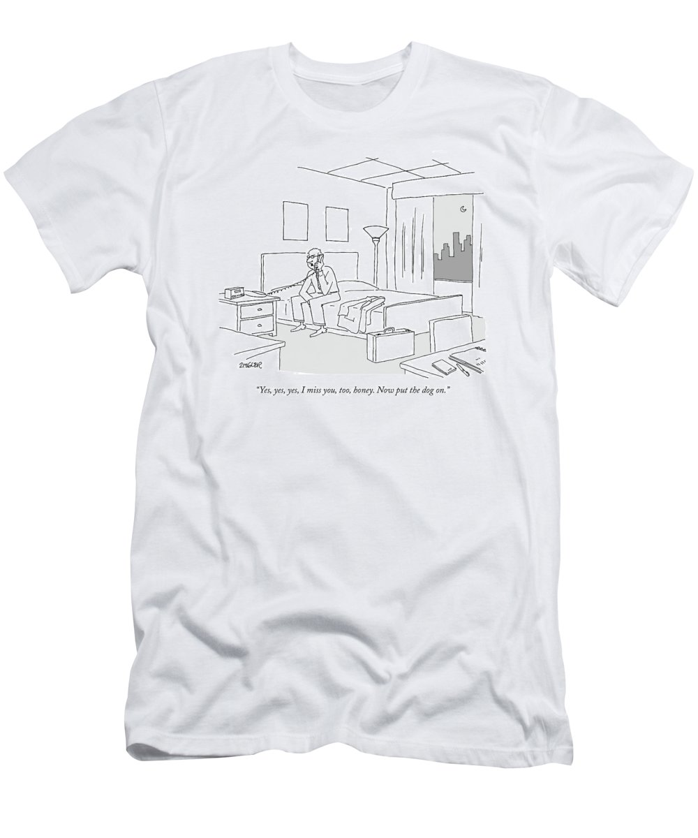Relationships Pets Travel Problems  (businessman Sitting On A Bed In Hotel Room Talking On The Phone.) 121246 Jzi Jack Ziegler Topziegler T-Shirt featuring the drawing Businessman Sitting On A Bed In Hotel Room by Jack Ziegler