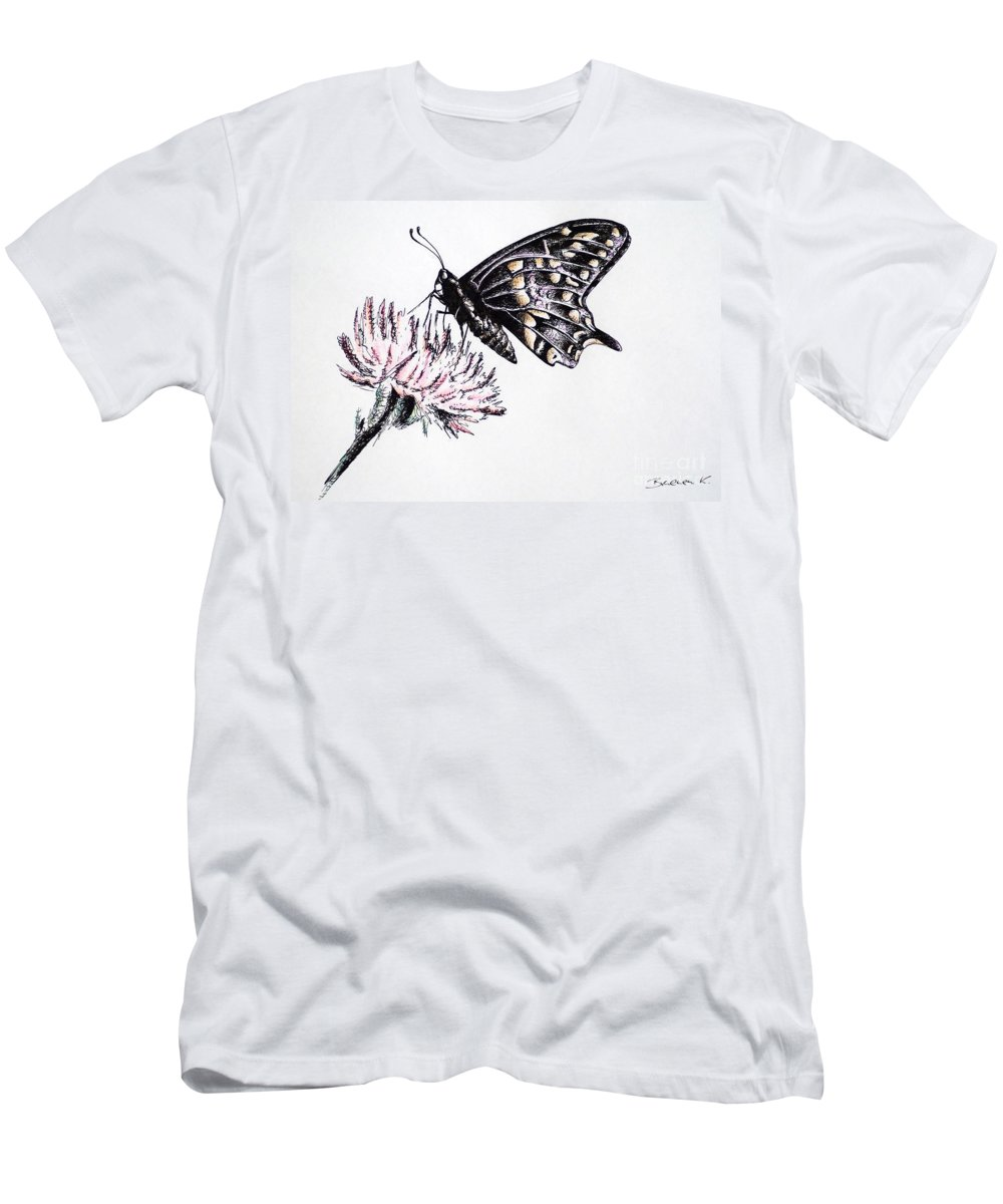 Butterfly Men's T-Shirt (Athletic Fit) featuring the drawing Butterfly by Katharina Filus