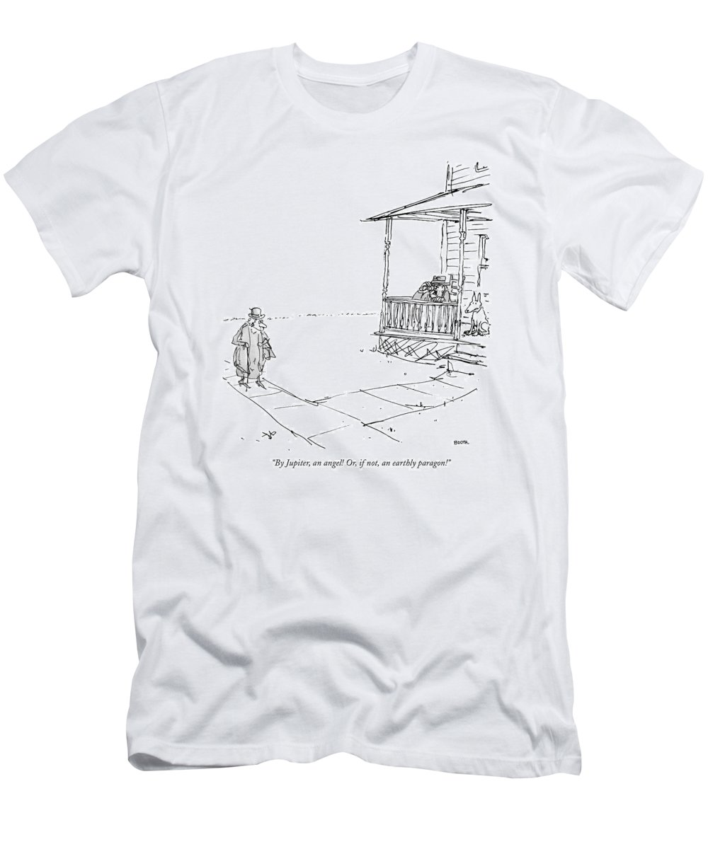 88507 Gbo George Booth (old Geezer On Porch With His Binoculars T-Shirt featuring the drawing By Jupiter, An Angel! Or, If Not, An Earthly by George Booth