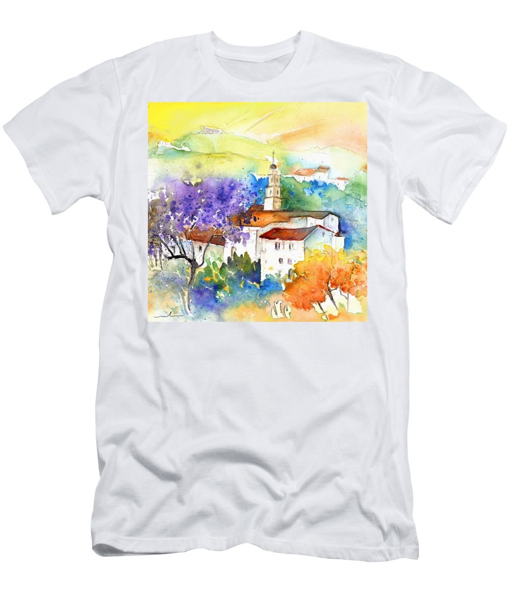 Travel Men's T-Shirt (Athletic Fit) featuring the painting By Teruel Spain 02 by Miki De Goodaboom