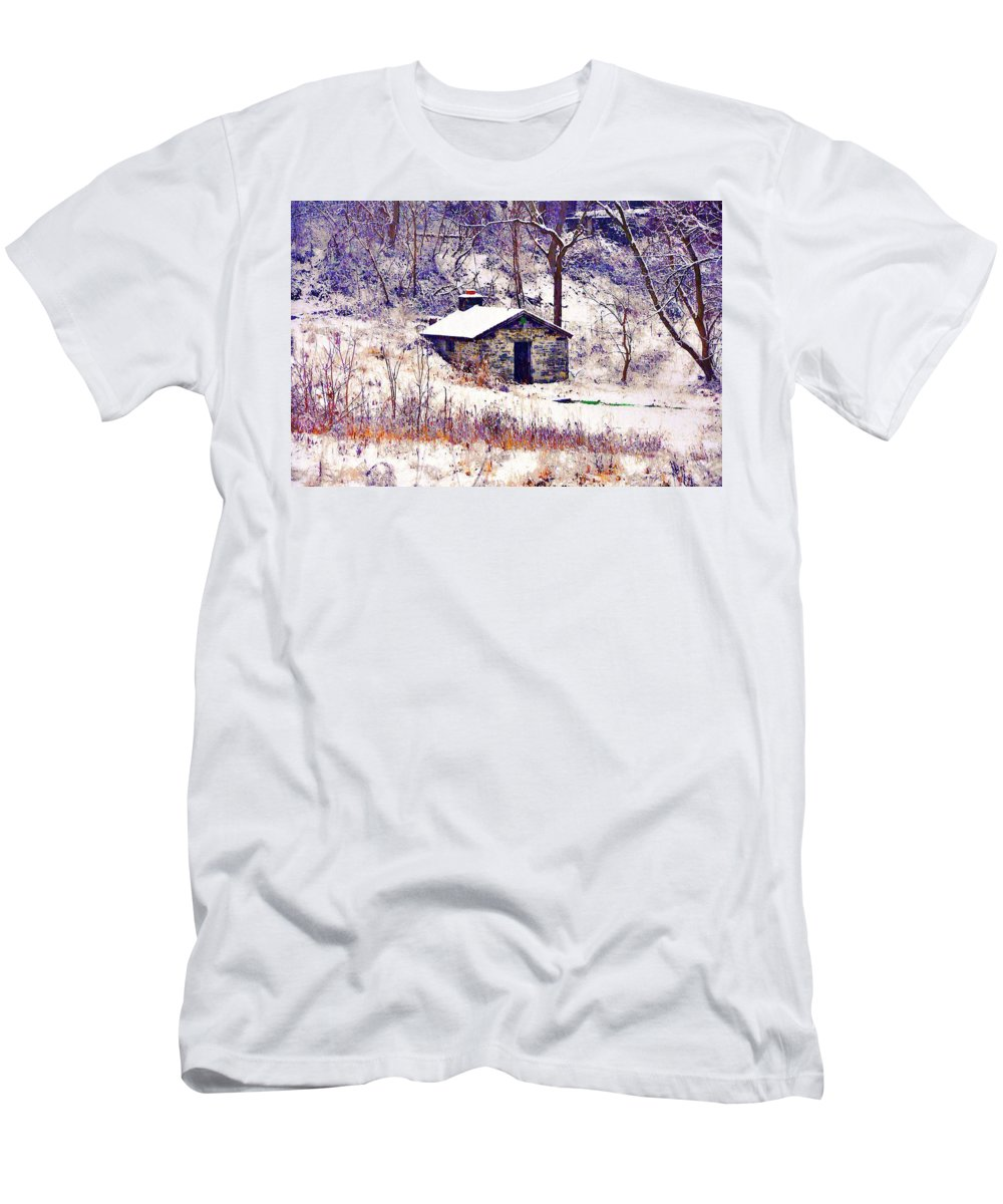 Cabin Men's T-Shirt (Athletic Fit) featuring the photograph Cabin In The Snow by Bill Cannon
