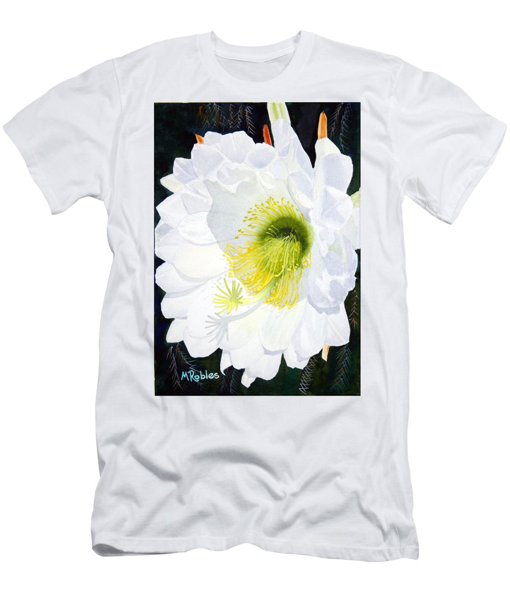 Flower Men's T-Shirt (Athletic Fit) featuring the painting Cactus Flower II by Mike Robles
