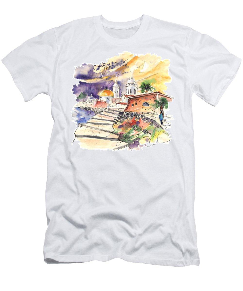 Travel Men's T-Shirt (Athletic Fit) featuring the painting Cadiz Spain 01 by Miki De Goodaboom