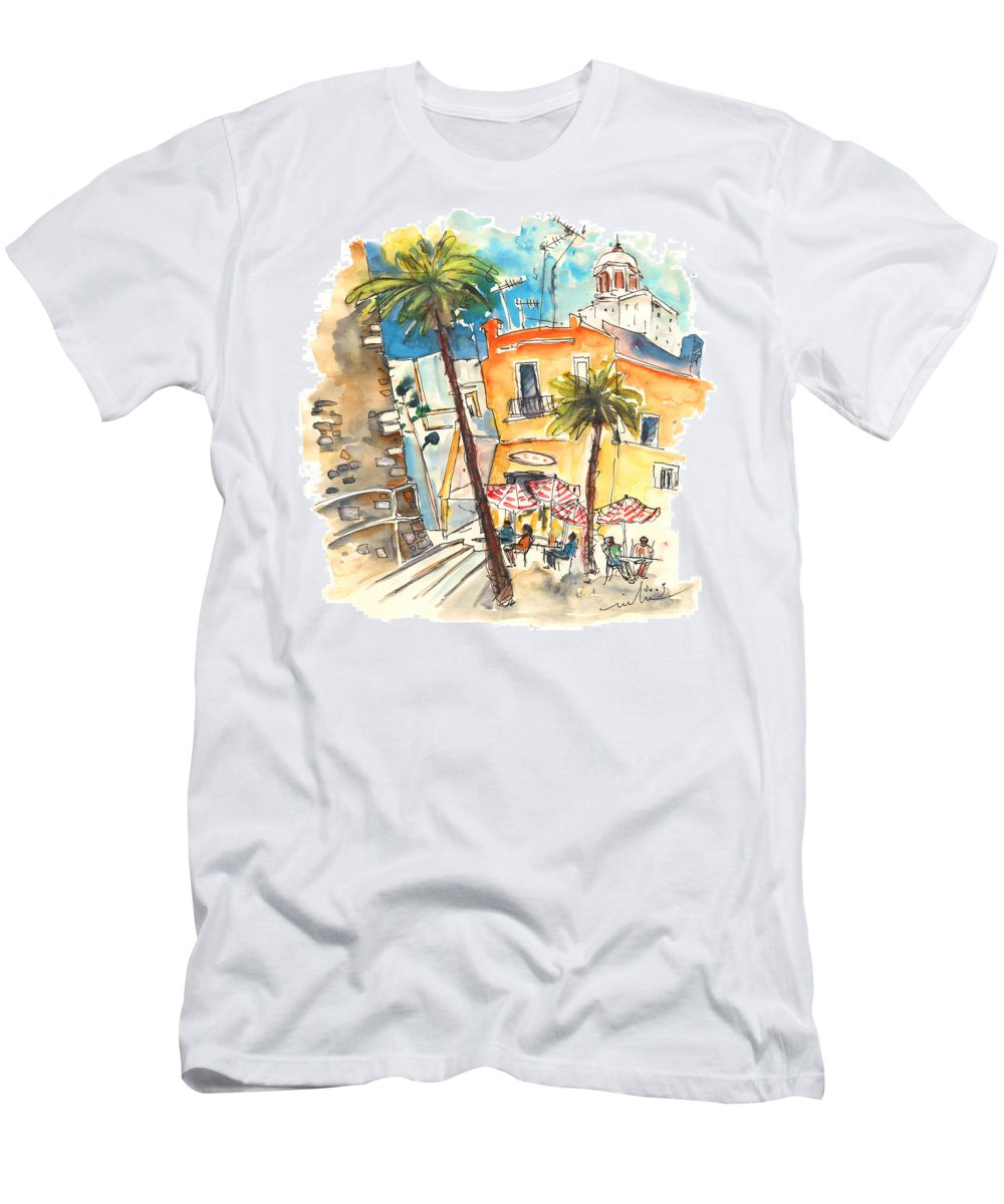 Travel Men's T-Shirt (Athletic Fit) featuring the painting Cadiz Spain 04 by Miki De Goodaboom
