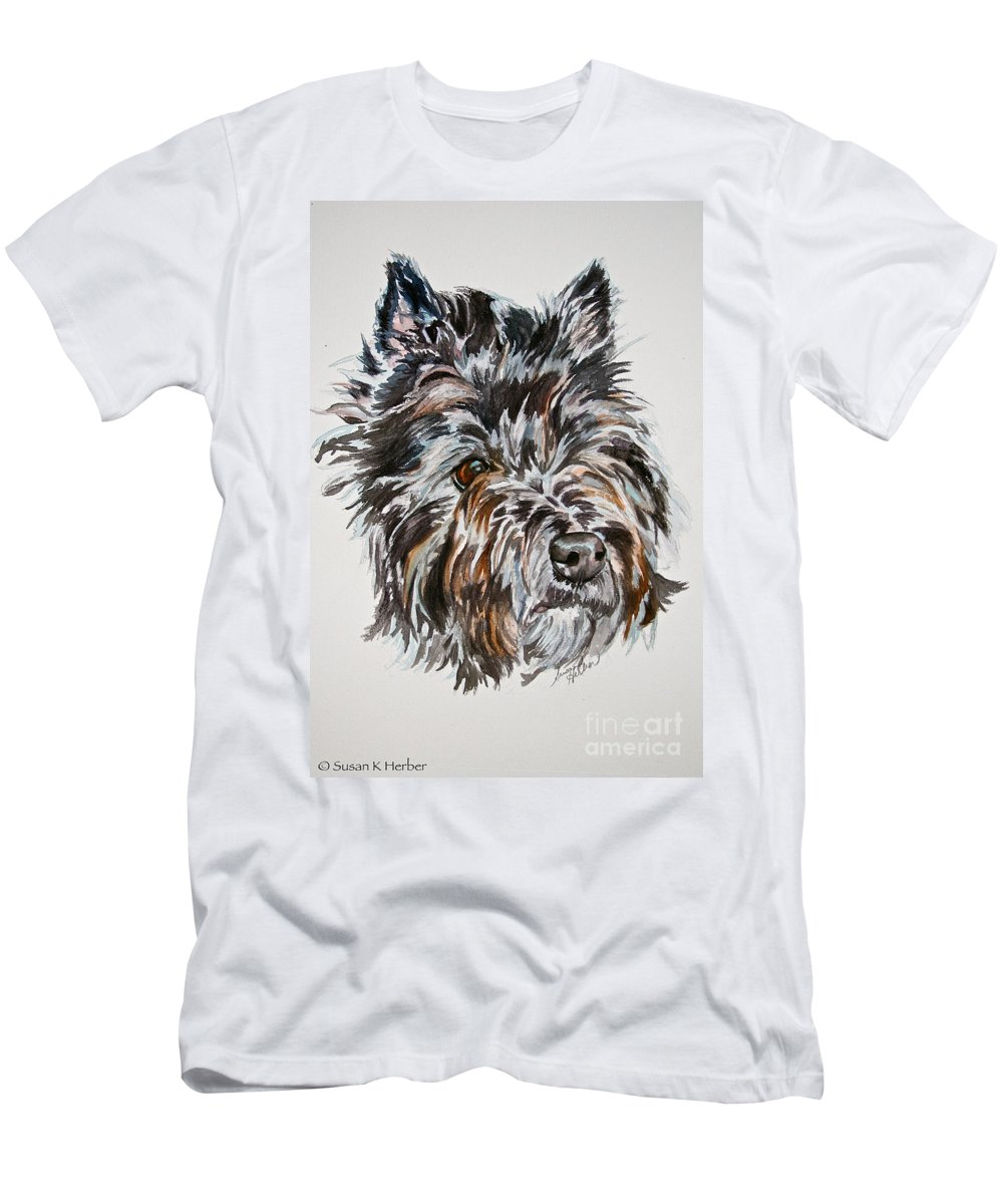 Dog Men's T-Shirt (Athletic Fit) featuring the painting Cairn Terrier Martha by Susan Herber