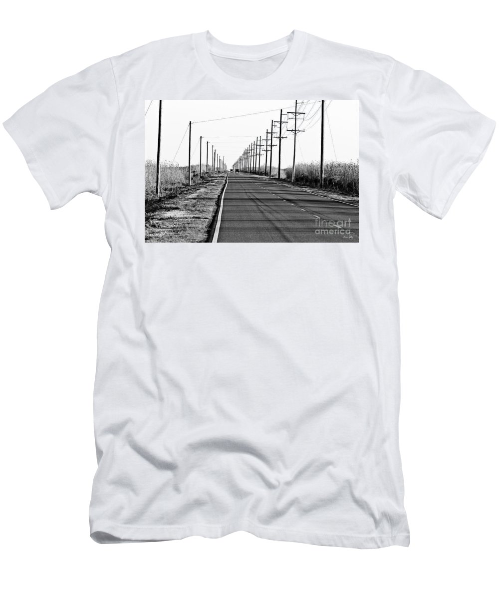 Black & White Men's T-Shirt (Athletic Fit) featuring the photograph Cameron Prairie Road by Scott Pellegrin