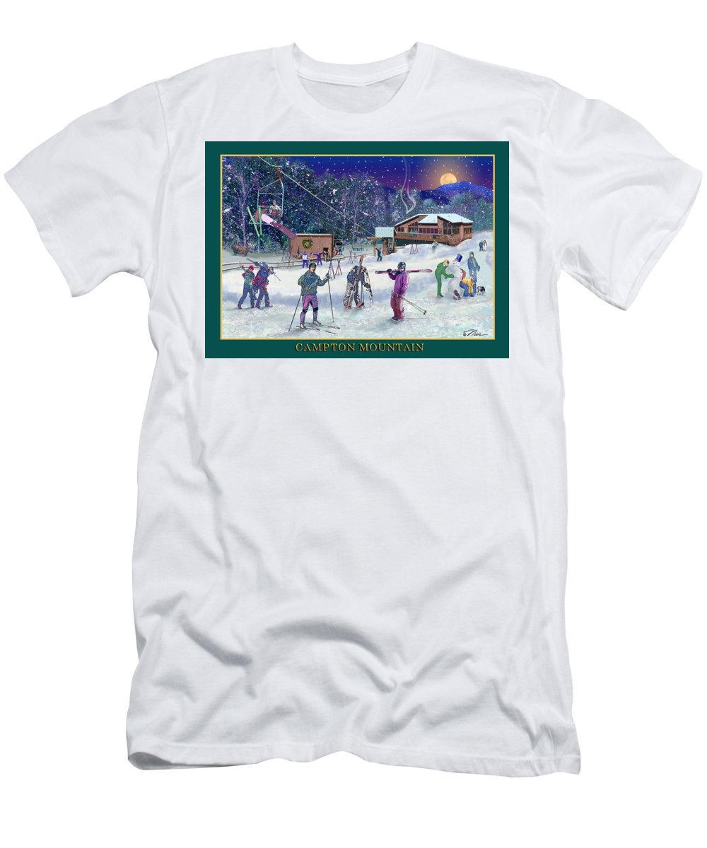 Ski Men's T-Shirt (Athletic Fit) featuring the digital art Campton Mountain Ski Area by Nancy Griswold