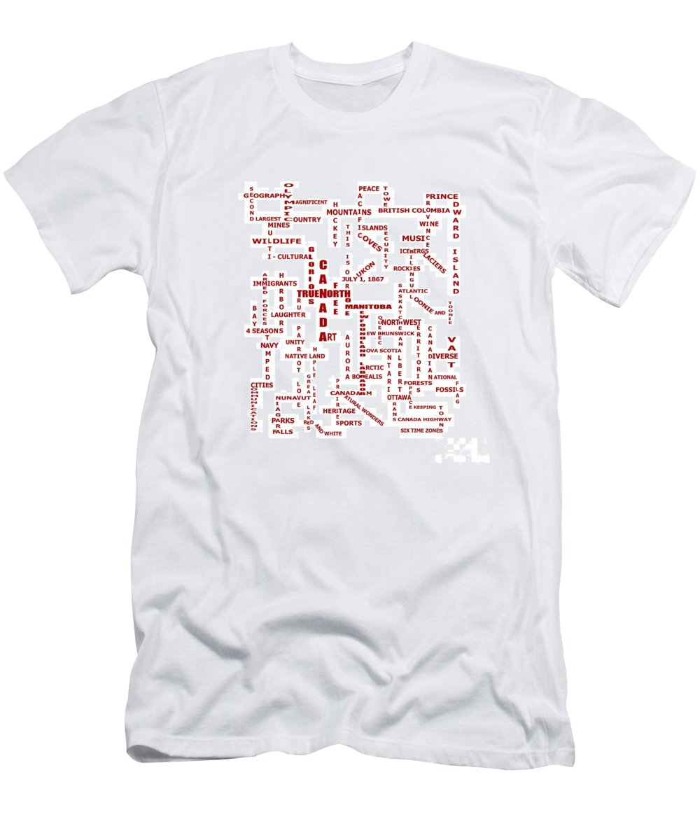 Canada Crosswords Men's T-Shirt (Athletic Fit) featuring the digital art Canada Crosswords by Barbara Griffin